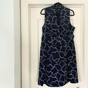 PINK TARTAN | Navy Quartrefoil Print Dress size 14